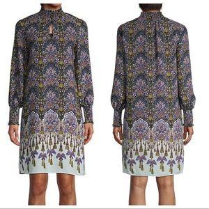 Nanette Lepore Smocked Neck & Cuff Print Dress